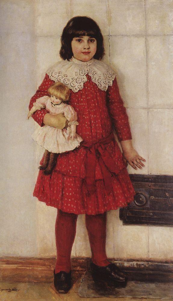 дочь Василий Суриков. Галерея живописи. Портрет О.В.Суриковой (в замужестве Кончаловской), дочери художника, в детстве. 1888