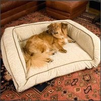 "$119.95-$159.95 Get fido off your couch an onto his own with this comfy pet sofa from Snoozer. Made with 7"" of foam padding, the Luxury Pet Sofa is the ultimate in pet bedding and lounging. With several designer microfiber fabrics to choose from, you'll be sure to find a pet sofa that will compliment your existing decor. Sizes: Small: 30 in. W x 20 in. Large: 40 in. W x 30 in. X-Large: 54 in. W x ..."