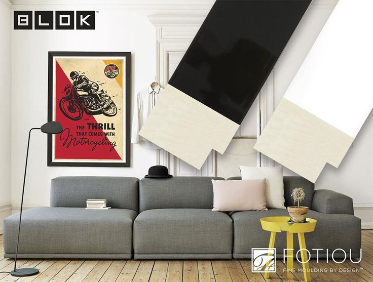 Introducing the new BLOK series of moulding by FOTIOU featuring a contemporary block shaped design available with a matte or glossy lacquer finish. This bold and modern profile commands attention on the wall with its trend forward design that works well with modern and transitional styles of decor. We chose a transitional room design as a great example of how a dramatic framing design can be achieved with the BLOK series.....looks stunning! FOTIOU moulding: 9986BL