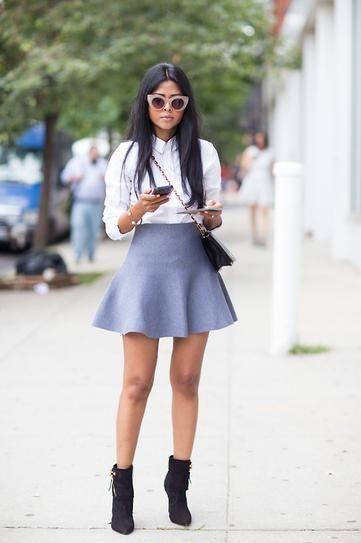 chic schoolgirl outfit ideas - gray felt fit and flare mini skirt, white button up shirt, and suede ankle boots / walk in wonderland 2