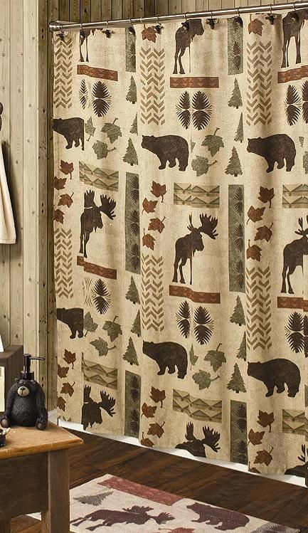 country curtains | Country Moose and Bear 5 Piece Bath Set, cabin decor shower curtain ...