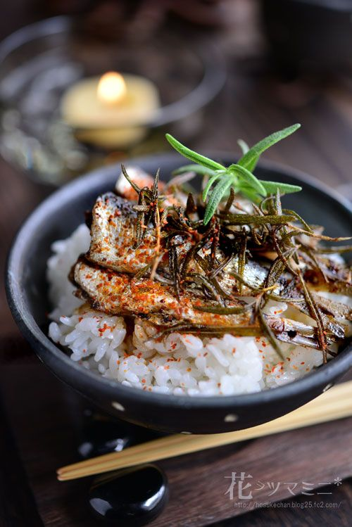 OIL-MARINATED SARDINE DONBURI with SOY SAUCE, TOGARASHI & CRISPED ROSEMARY [Japan, Modern] [hosukechan] [asia pacific rice dish]