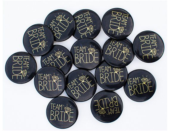 Kip partij Badges Black and Gold Team bruid / kip nacht /