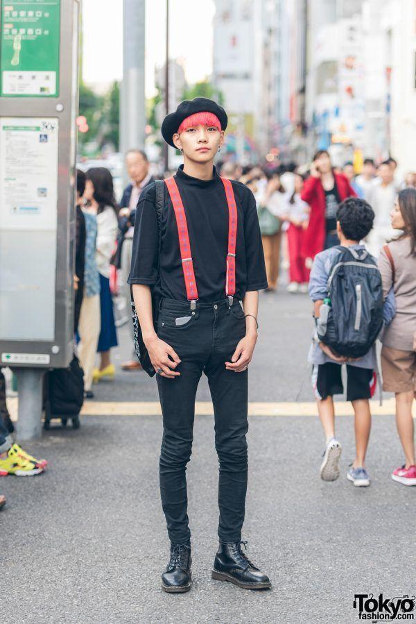97d775026bc8 Pink-Haired Harajuku Guy in Black   Red w  Gosha Rubchinskiy