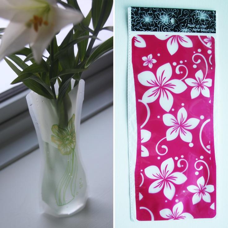 Foldbar vase – Pink med store blomster, 20,-