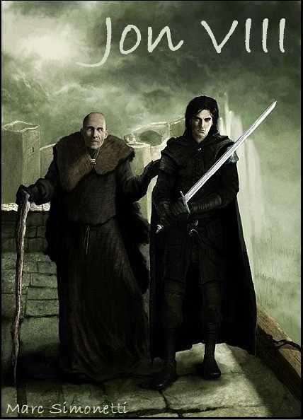 AGOT Jon VIII banner - Jon and Maester Aemon by Marc Simonetti