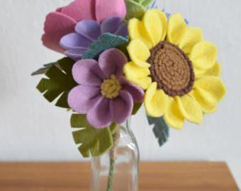 Heirloom Felt Flower Bouquet Peony Ranunculus Lavender