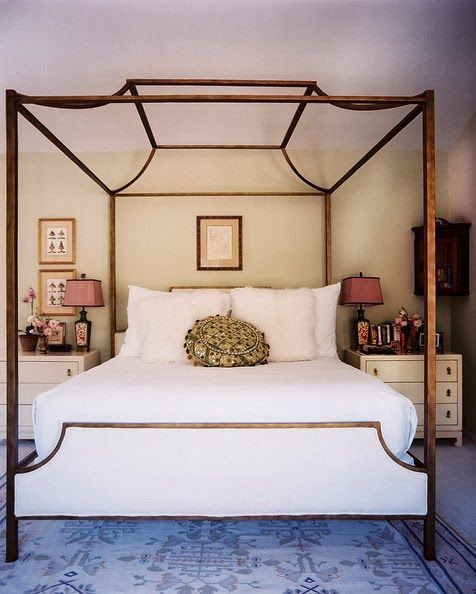 Contemporary canopy bed with a gorgeous rug