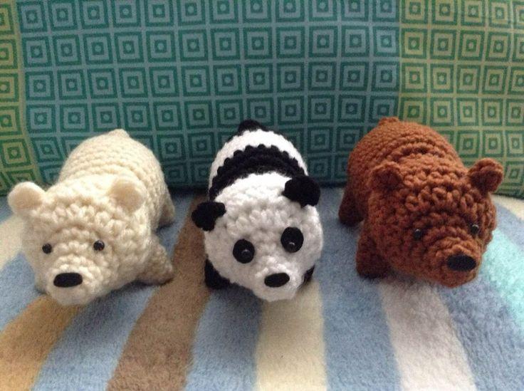 Crochet brown bear, polar bear and panda. (Free pattern).