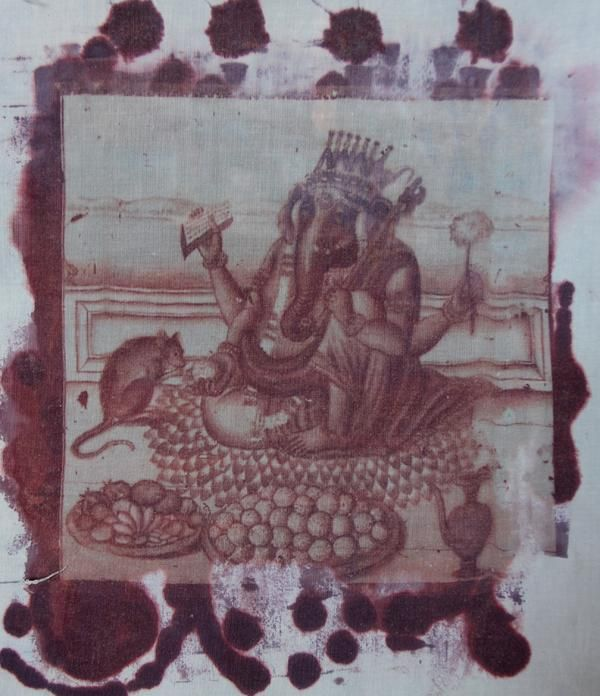 another color of the print of Lord Ganesha the destroyer of obstacles - I love him and used an historical work 100s of years old to create this print so people can have altar pieces, purses, tshirts, pillows with Ganesha - I love the son of Shiva and Parvati http://yoyoro.net #yoyoro #retail #wholesale #artprints