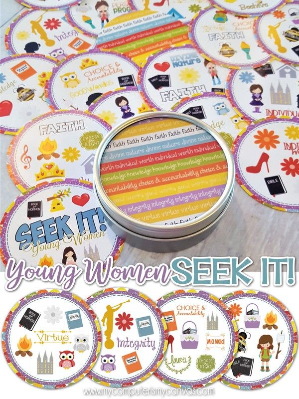 PRINTABLE Young Women Game, Activity - YW Seek It Matching Game, great for a game night, camp game, camp printables, new beehive gift, birthday gift idea or just for fun! LDS YW Value Printables #mycomputerismycanvas