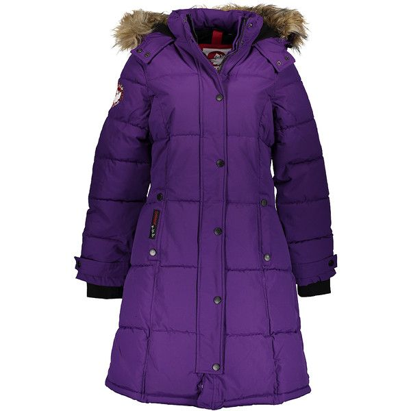 Canada Weather Gear Purple Faux Fur-Lined Hooded Puffer Coat ($35) ❤ liked on Polyvore featuring outerwear, coats, faux fur trim puffer coat, puffy coat, puffer coat, long purple coat and evening coat