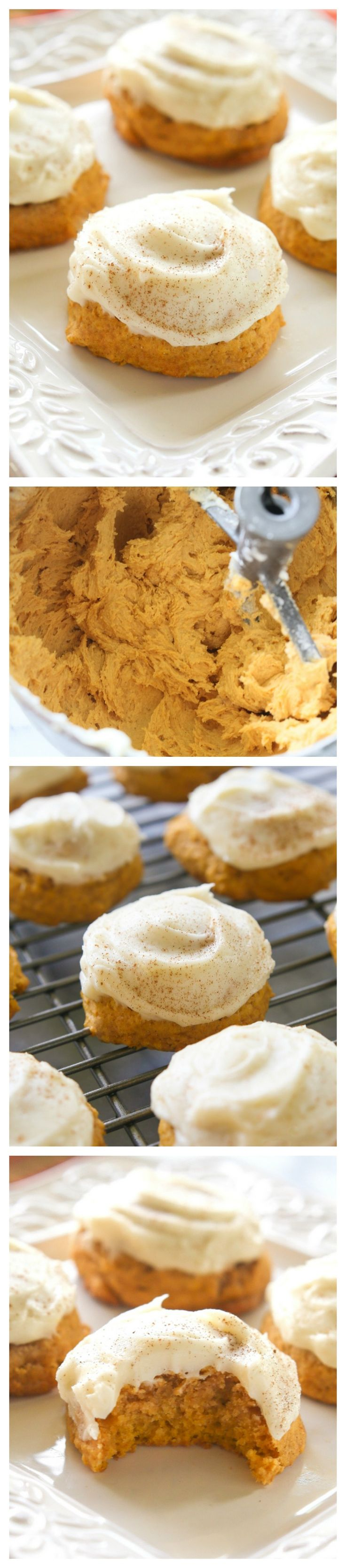 Pumpkin Cookies - melt in your mouth cookies with cream cheese frosting. the-girl-who-ate-everything.com
