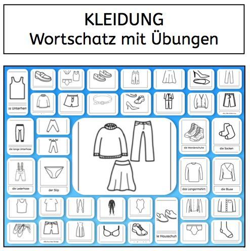 wortschatz kleidung lesen schreiben daz daf sprachf rderung deutsch arbeitsbl tter. Black Bedroom Furniture Sets. Home Design Ideas