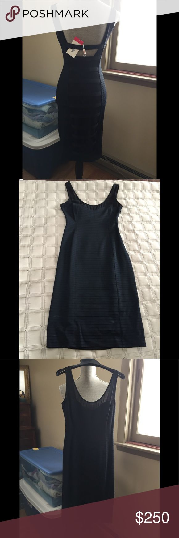 Versus Versace black bandage sheer back dress NWT (❌read full description) Versus Versace black bandage dress with sheer panel up middle of the total length of back of dress. Super sexy dress! The sheer panel has straps across back as well. Dress has sheer fabric across top of front and back. Side zip. ❌See photo of side shot, there are 2 areas that seam is undone (inch long)and needs stitching however dress has never been worn and I never removed tags. Still on Versace store hanger and…