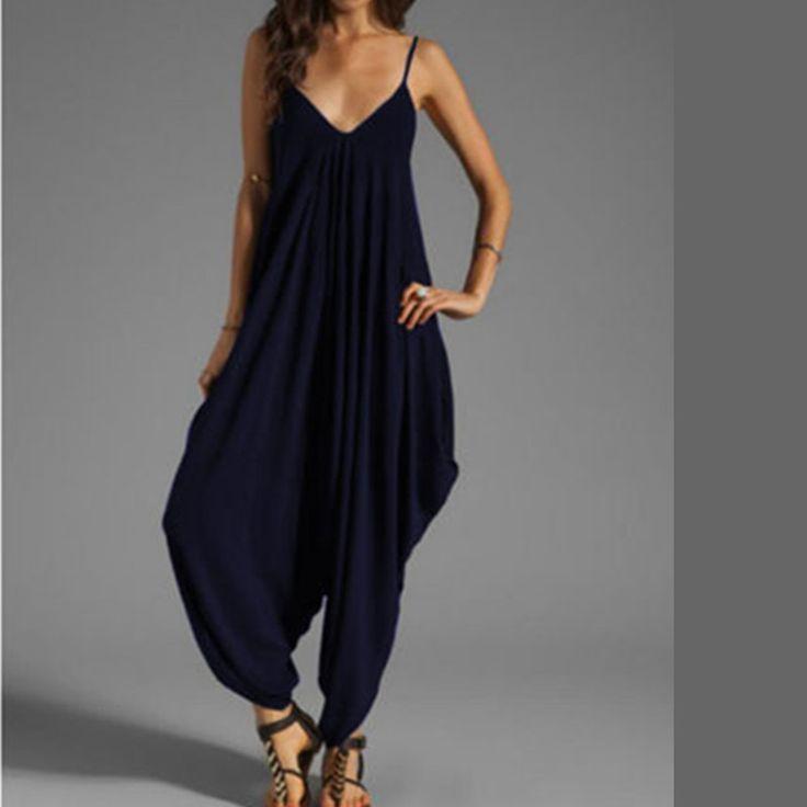 Preself jumpsuit vrouwen kleding sexy romper spaghetti tops losse playsuit elegante strand harembroek plus size effen kleuren