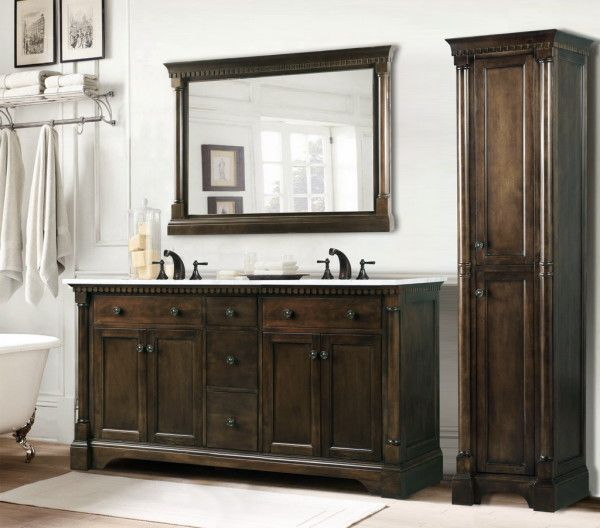 Furniture Magnificent Rustic Double Sink Bathroom Vanities With Oil Rubbed Bronze  Faucet Above Dark Walnut Cabinets