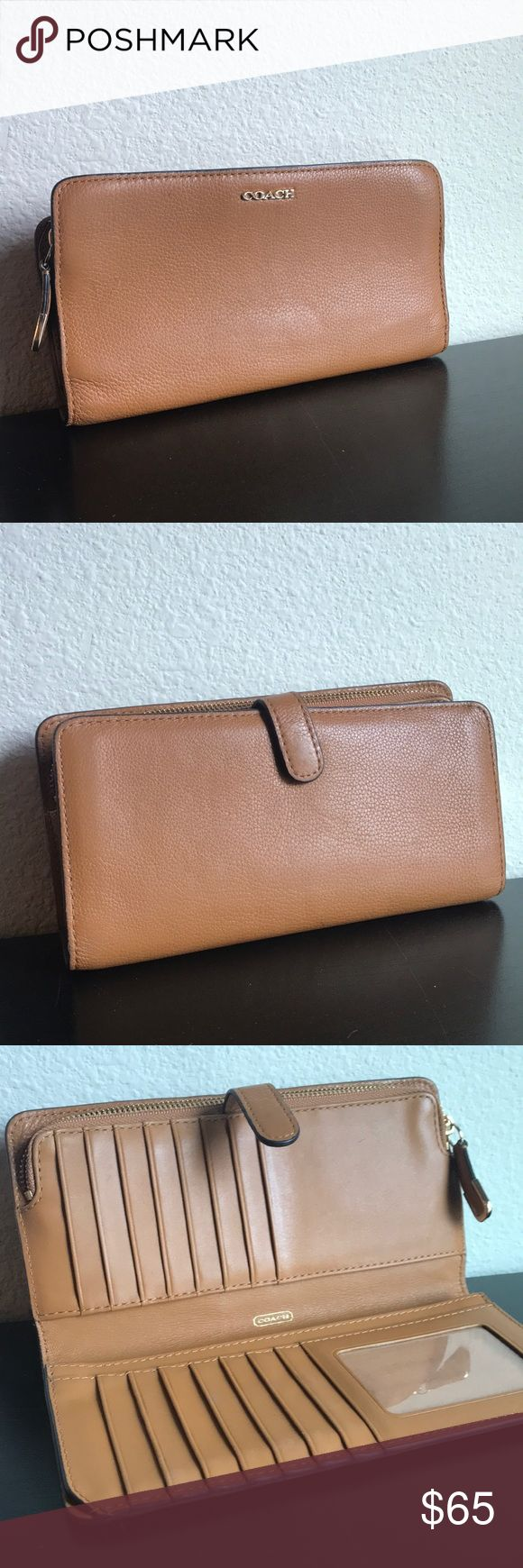 Coach Skinny Wallet Coach camel colored skinny wallet.  1 zip change pocket 3 full length bill compartments 1 ID slot 15 credit card slots Snap closure Coach Bags Wallets