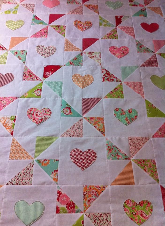 Quilting Patterns Charm Packs : Hearts and pinwheels quilt top. Made with Moda Scrumptious charm pack. To do. Pinterest ...