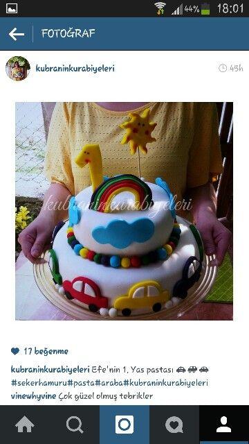 Oğlum için hazırladığım ve ilk deneyimim olan 1yaş pasta