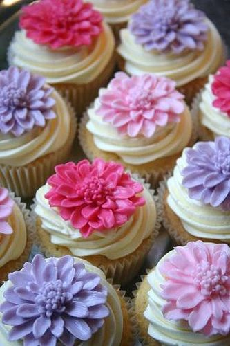 Purple and fuchsia cupcakes - perfect for a garden party