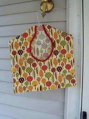 Clothespin bag. Make two more, longer versions: rag bag, plastic bags.