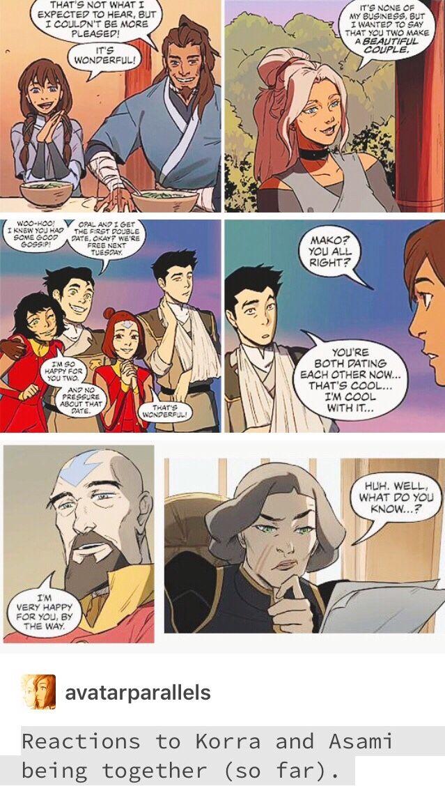 Korrasami in the Legend of Korra comics - Korra and Asami Sato in Turf Wars part 1 and 2