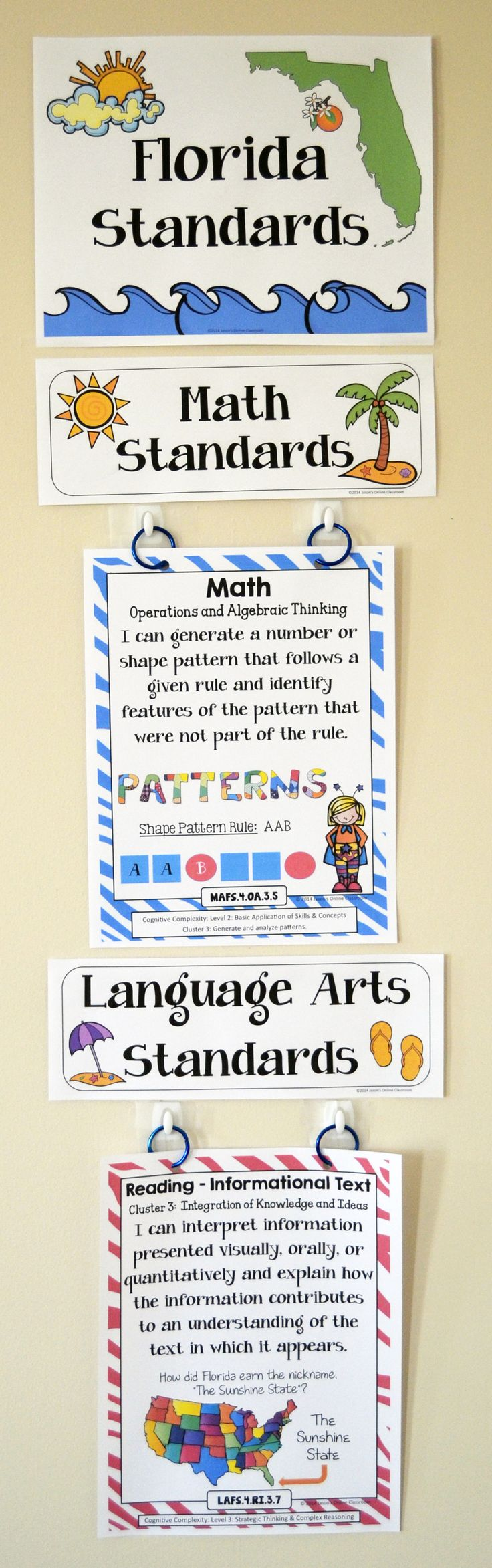 4th Grade Florida Standards - Create amazing classroom displays, focus walls, and reference binders! There are also miniature posters included that are the perfect size for interactive notebooks or student reward badges! Stay organized and help the students take charge of their own learning!