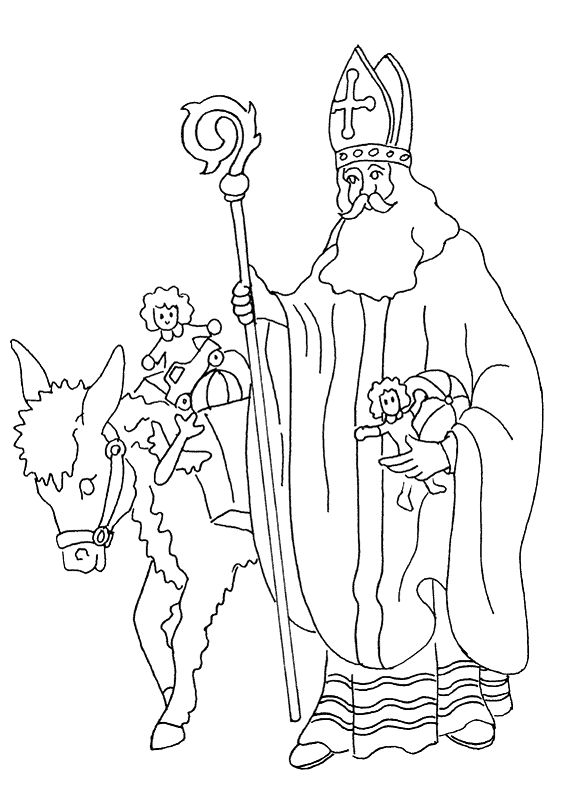 coloring page saint nicolas gift w. Black Bedroom Furniture Sets. Home Design Ideas