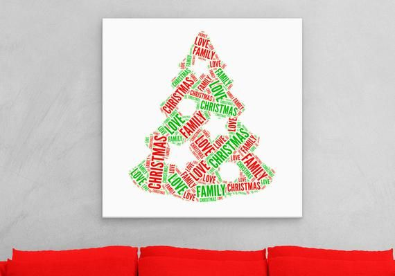 Christmas Tree Word Canvas Art Family Love Christmas Name Etsy Canvas Art Christmas Paintings Cloud Canvas Painting