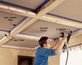 DIY:  How To Install a Beam and Panel Ceiling - this is an inexpensive project that requires no mitered cuts and makes a huge impact in a room.