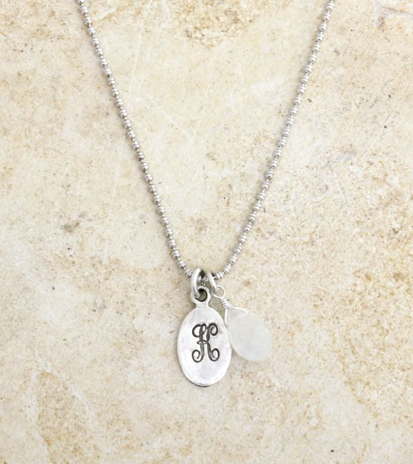 Happy birthday, October babies! The perfect gift is just a few clicks away. A sterling initial charm and birthstone adorn a light sterling silver chain. Perfect for everyday wear or would look lovely with a bridesmaid's dress.