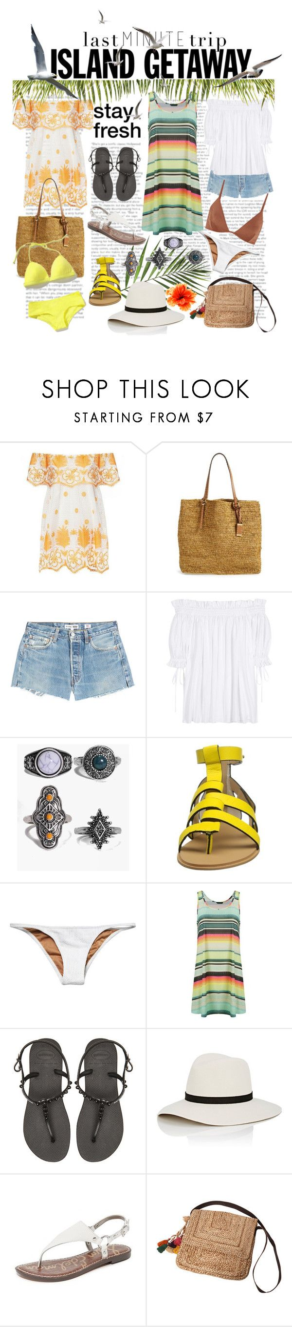 """""""Chic Island Getaway"""" by mia-christine ❤ liked on Polyvore featuring Miguelina, Michael Kors, RE/DONE, Alexander McQueen, Boohoo, Joe's Jeans, Made By Dawn, Lygia & Nanny, Havaianas and Janessa Leone"""