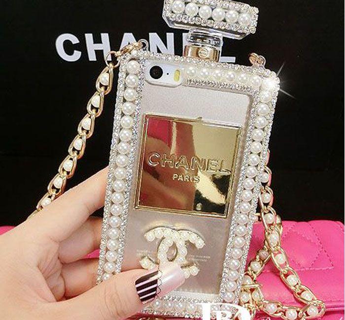 香水瓶 シャネル iPhone6s Plusケース 本物 売れ筋 Chanel iPhone6sカバー 真珠 チェーン