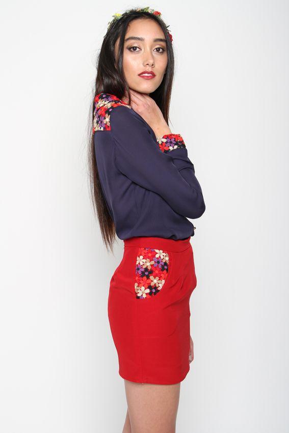 ROSE SKIRT | Amber Whitecliffe red flowers fashion shirt feminine