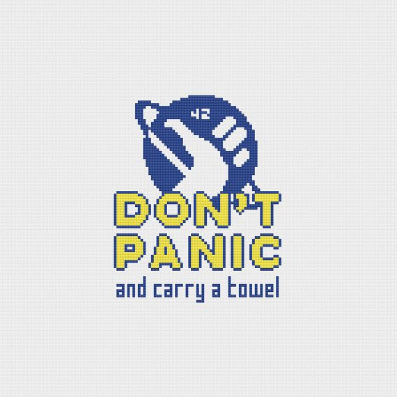 "Hitchhiker's Guide to the Galaxy ""Don't Panic"" Cross Stitch Pattern PDF Instant Download"