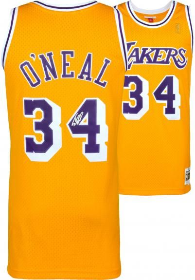 e9ace166a Shaquille O'Neal Los Angeles Lakers Autographed Gold Mitchell & Ness  Hardwood Classics Swingman Jersey