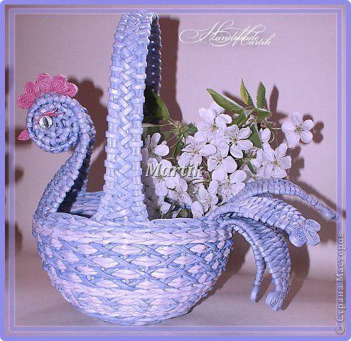Поделка изделие Пасха Плетение Пасхальная курочка-корзинка Трубочки бумажные фото 2