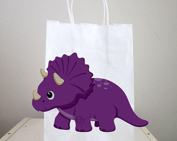 Bolsas de chuchería de dinosaurio, dinosaurio Favor bolsos, bolsos fiesta dinosaurio, Triceratops dinosaurio Goody bolsas