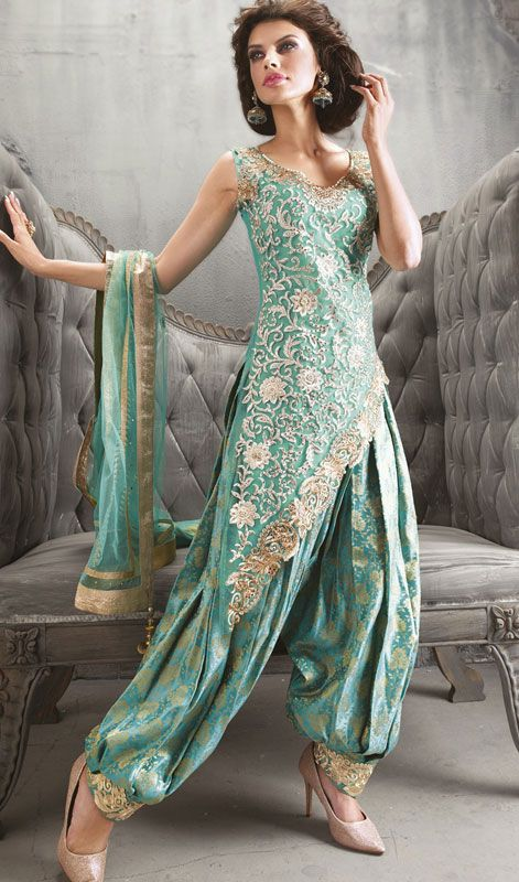 Cyan Blue Embroidered Net Salwar Suit Price: Usa Dollar $179, British UK Pound £105, Euro131, Canada CA$192 , Indian Rs9666.