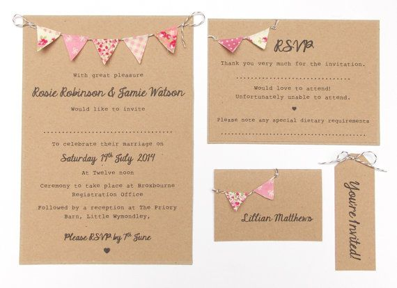 Custom Listing for Chantel  85 x Bunting Invitation Sets, Second Instalment. Summer Fete Country Wedding with RSVP