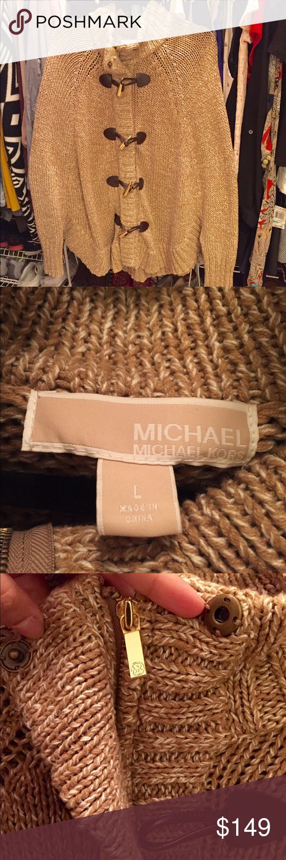 Michael Kors Poncho in Camel Very trendy, warm and comfortable poncho. Perfect to throw on over leggings and tall boots to make an effortlessly chic outfit! Michael Kors Sweaters Shrugs & Ponchos
