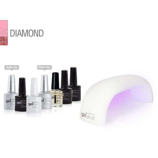 Gellaka 8-Piece PRO Matte or Shine Gel Nail Kit Diamond in 2020 | Gel nail kit, Nail kit, Gel nails