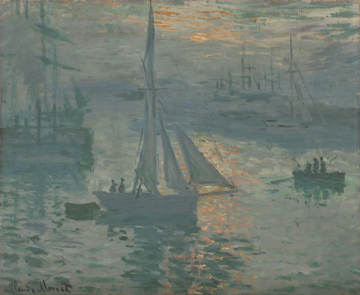 "Claude Monet, ""Sunrise (Marine),"" March or April 1873. Painted during the spring of 1873 as the country struggled to rebuild during the Franco-Prussian war, this ""Sunrise"" might also metaphorically suggest a new day dawning in France."