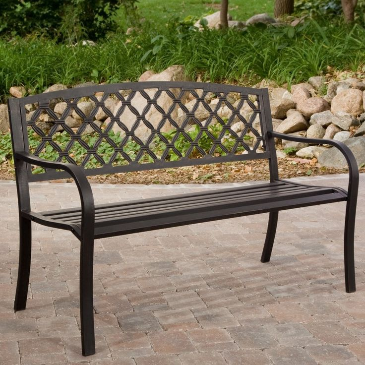 4 Ft Metal Garden Bench With Bronze Highlights Over Antique Black Finish