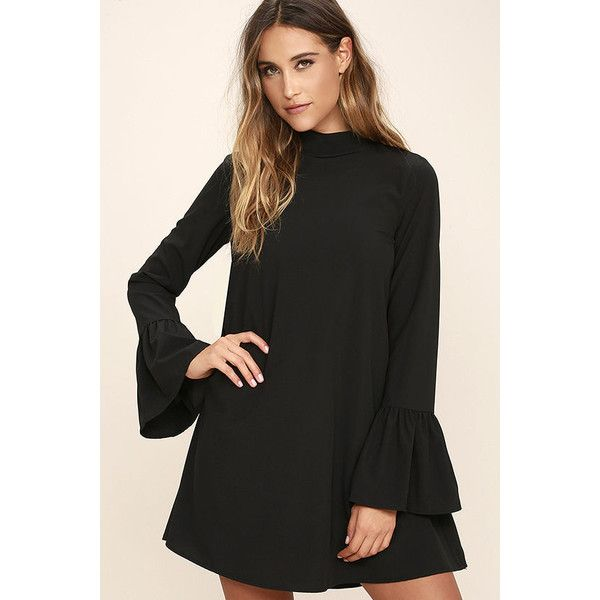 Mod Squad Black Shift Dress ($54) ❤ liked on Polyvore featuring dresses, black, mod shift dresses, long length dresses, open back dresses, mod dress and bell sleeve shift dress