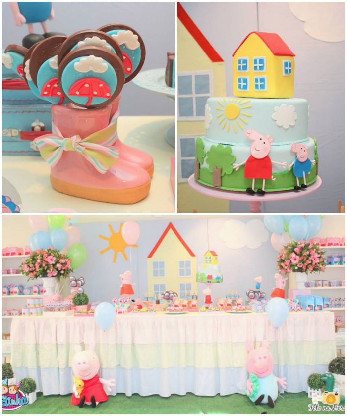 Peppa Pig themed birthday party via Kara's Party Ideas KarasPartyIdeas.com #peppapig #peppapigparty #peppapigcake