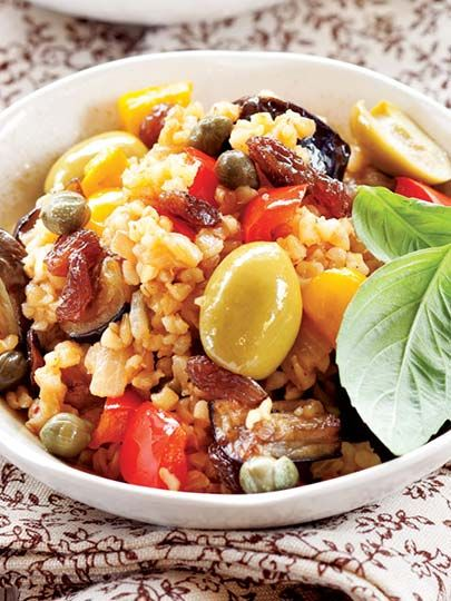 Biberli, patlıcanlı bulgur pilavı Tarifi - Türk Mutfağı Yemekleri - Yemek Tarifleri