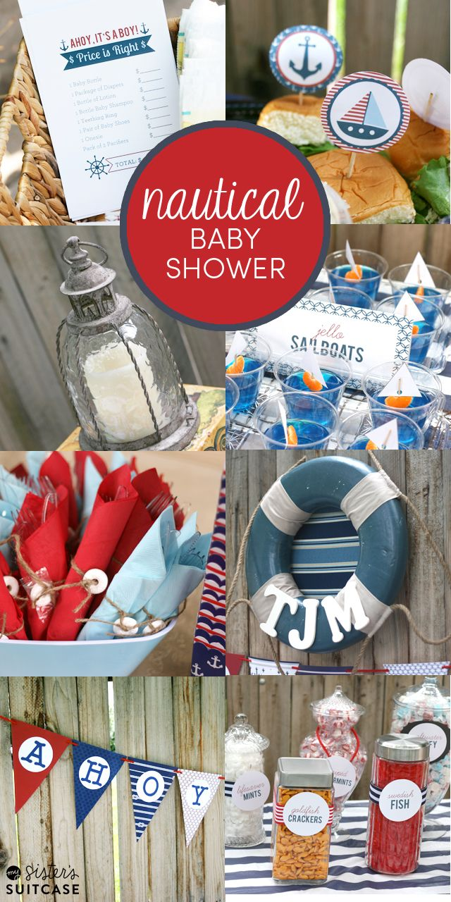 Must-see ideas for a Nautical-Themed Baby Shower: food, decor, printables and more! #babyshower #babyboy