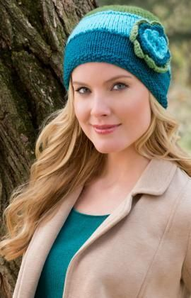 Hat In Bloom Free Knitting Pattern from Red Heart Yarns